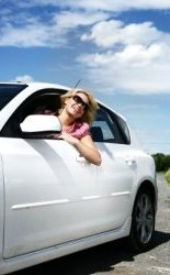 Auto Drivaway Girl in White Car Photo