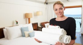 Resort Housekeeping Bringing Beach Towels to Guests Photo Button