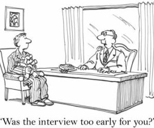 Job Candidate In Pajamas At Interview Cartoon