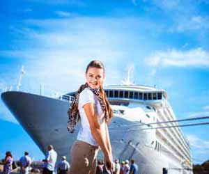 Cruise Ship Youth Counselor Boarding Cruise Ship After Shopping in Port