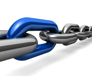Blue link in a chain of links