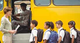 School Bus Driver Stopped as School Kids Board Bus