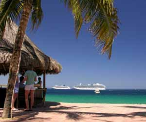 Cruise Ship Sailing Off a Mexican Beach