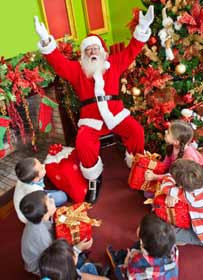 Santa Claus with kids Photo