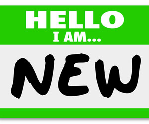 """Name tag sticker that says """"Hello I Am... NEW"""""""